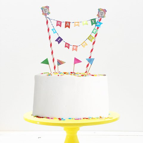 Set de Straw Topper y Palillos  - Happy Birthday