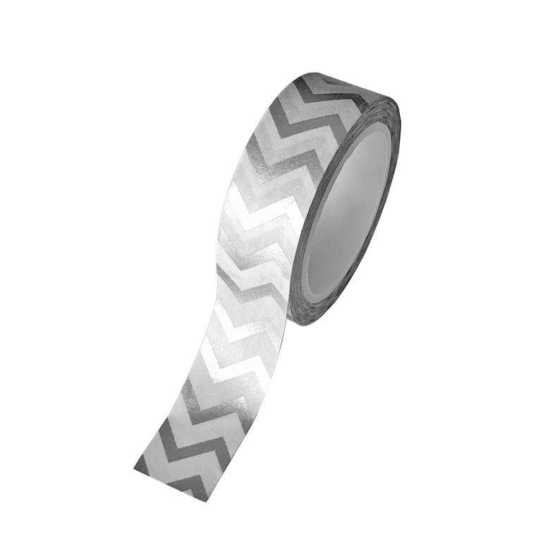 Washi Tape Chevron Grande Plateado