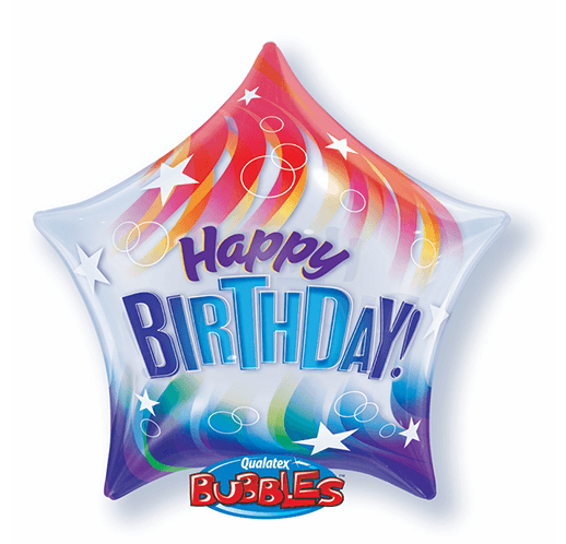 Globo Burbuja en Forma de Estrella Happy Birthday Ondas de Color. 56 cms.