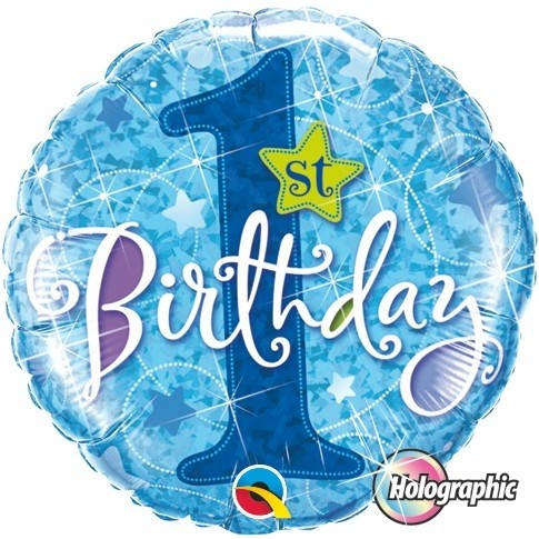 Globo Metalizado Holográfico First Birthday Blue.  46 cms.