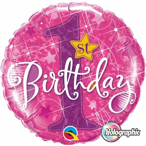 Globo Metalizad0 Holográfico First Birthday Pink. 46 cms.