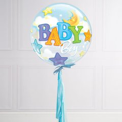 Globo Burbuja Baby Boy Moon and Stars. 56 cms.