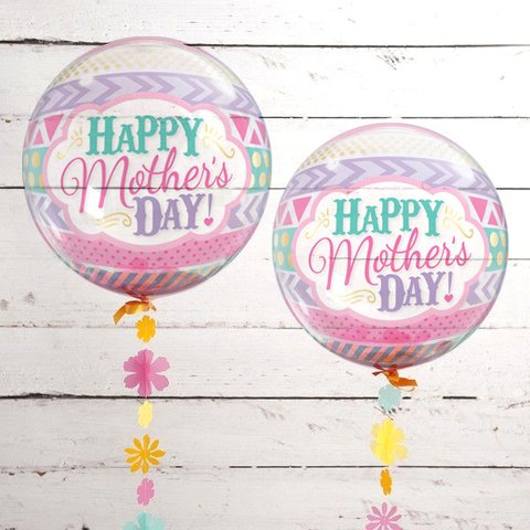 Globo Burbuja Happy Mother's Day. 56 cms.
