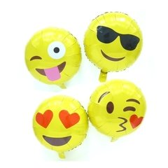 Set de 4 Globos Metalizados de Emoticones. 46 cms.