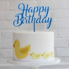 Topper para torta - Happy Birthday Azul