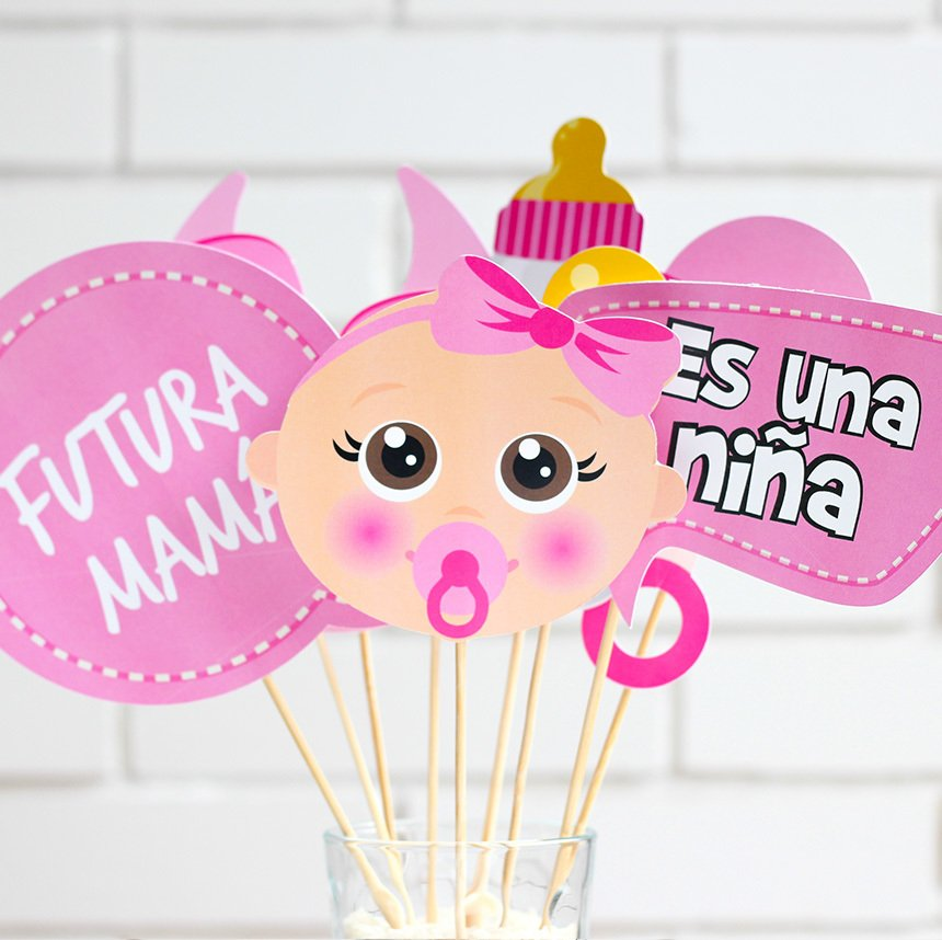 Photo Props Para Baby Shower De Nina