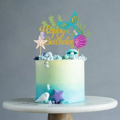 Topper en Papel para Torta - Happy Birthday Sirenita