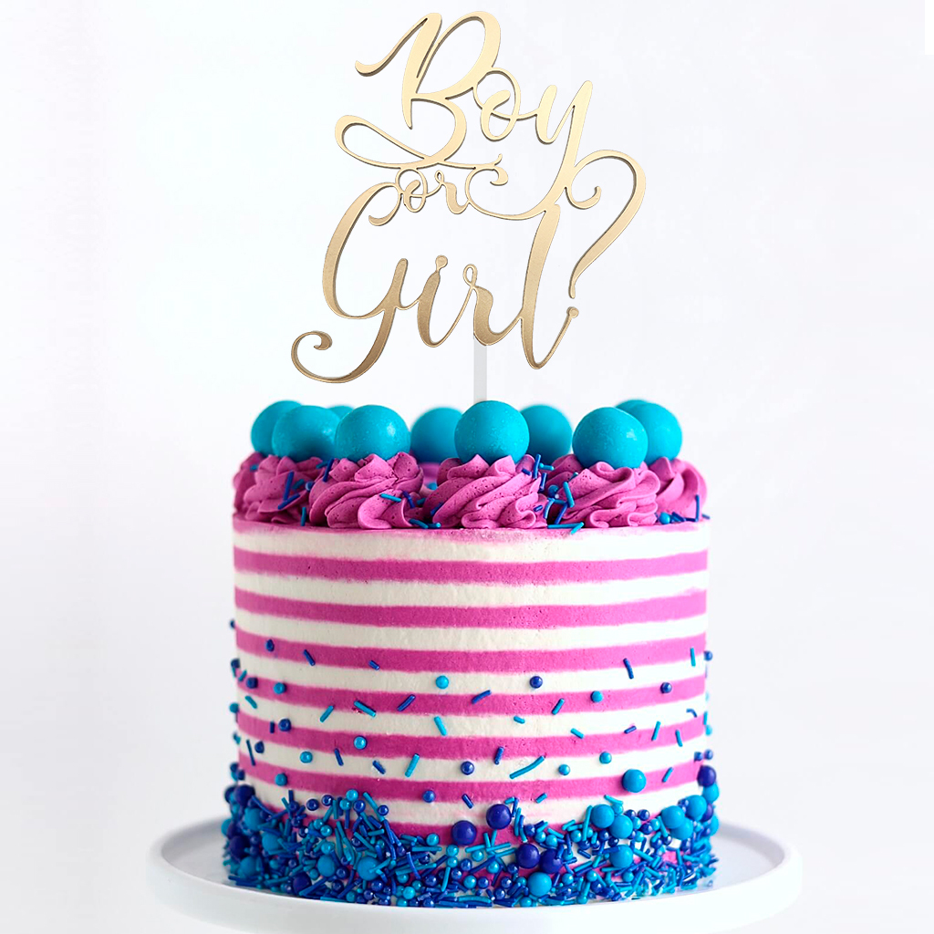 Topper para Torta - Boy or Girl? Dorado