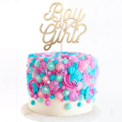 Topper para Torta - Boy or Girl? Dorado Estilo 2