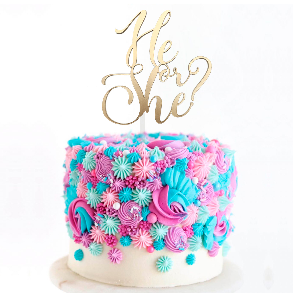 Topper para Torta - He or She? Dorado
