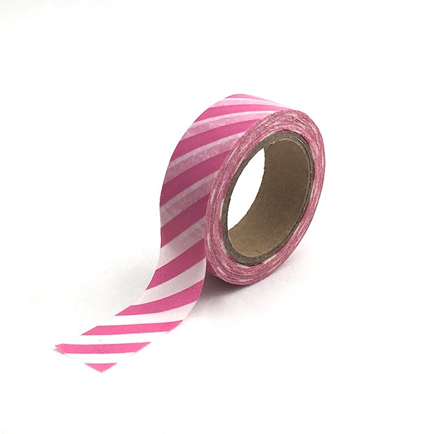 Washi Tape Rayas Diagonales Rosado Intenso y Blanco