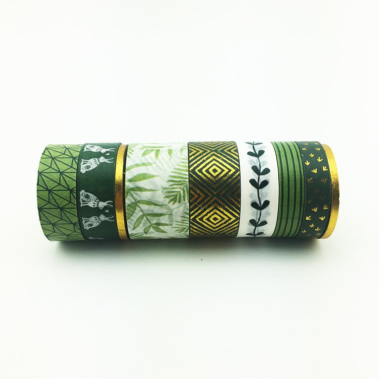 Washi Tape Green Gold Set x 8 Rollos