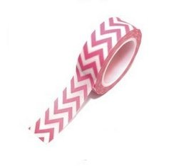 Washi Tape Chevron Grande (Zigzag) Rosado Intenso