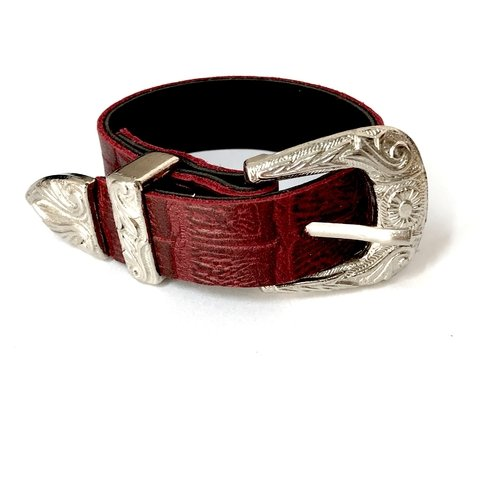 BELT XL BORDEAUX CROCO