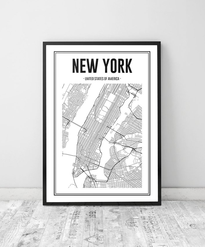 Cuadro Mapa New York - Comprar en Marnie Arte