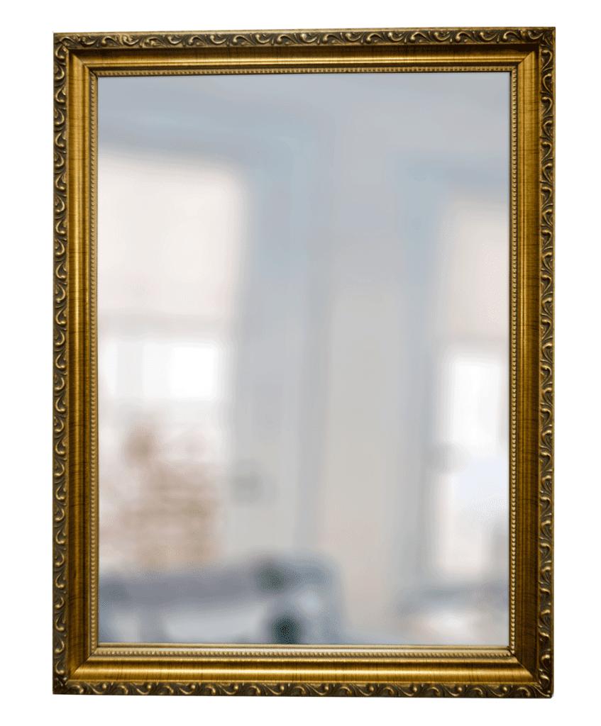 Espejo con marco labrado dorado for Espejo marco dorado