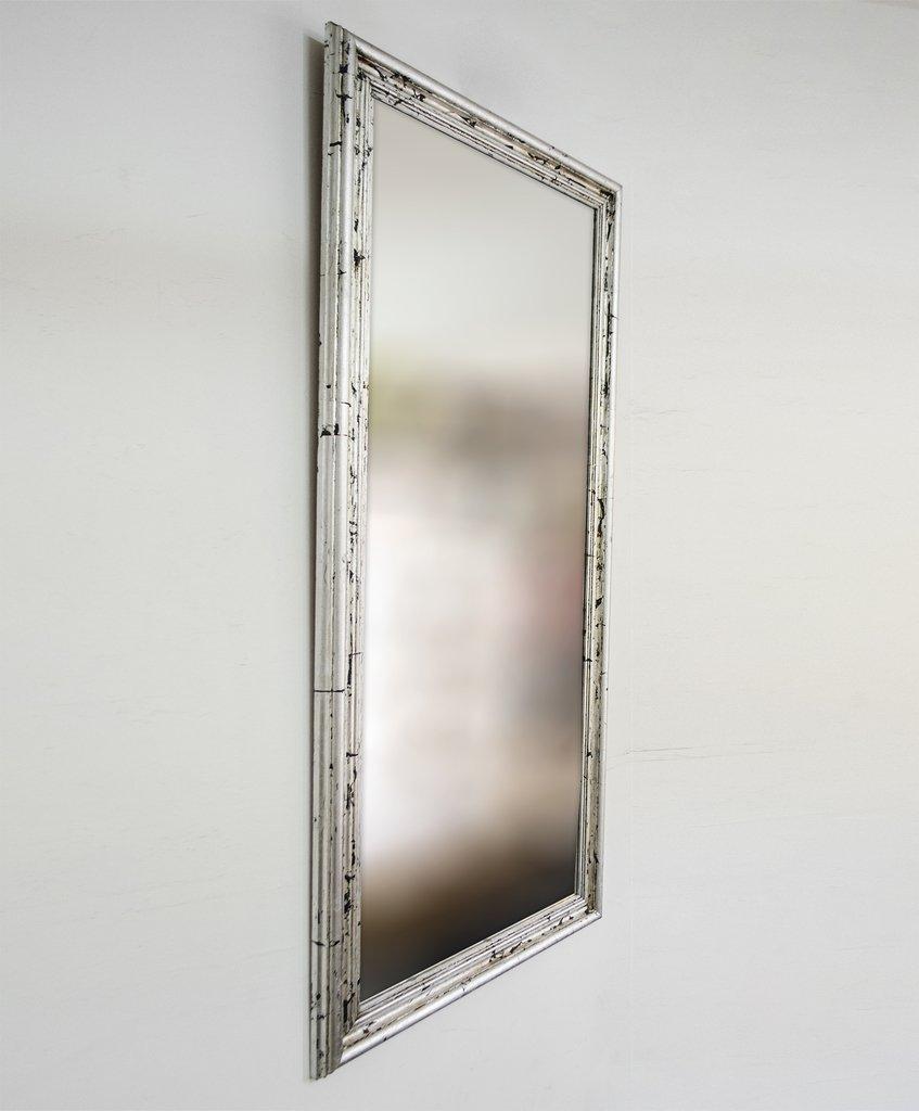 Espejo con marco plateado a la hoja artesanal for Espejos con marco plateado