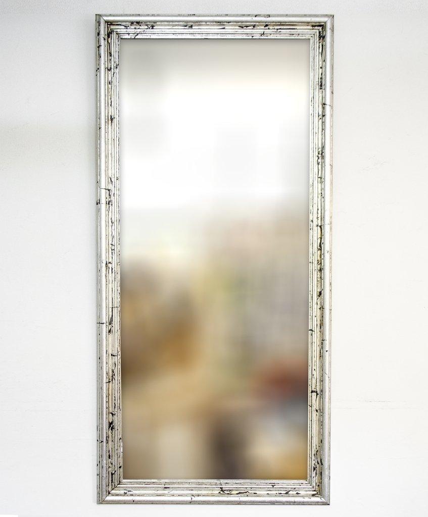 Espejo con Marco Plateado a la Hoja Artesanal