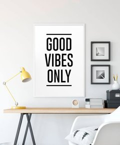 Cuadro Good Vibes Only 50x70 Marco Chato Negro