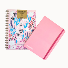 Kit Cuaderno A5 Rayado Floreado Ramitas + Bullet Journal A6