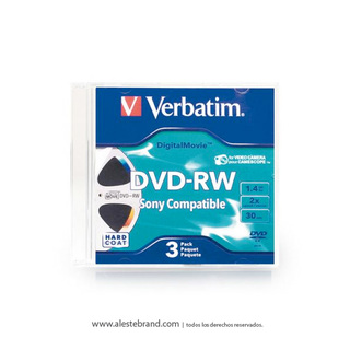 DVD-RW 1,4GB Mini Movie Jewell x 3 unidades - VERBATIM - 95415