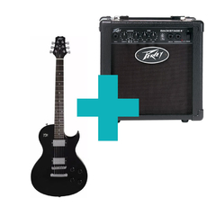 Combo Peavey Guitarra Single Cut Black SC-1 + Amplificador