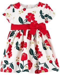 Vestido Carters Holiday White Flowers Red - 120G236 - Tamanho 12 meses