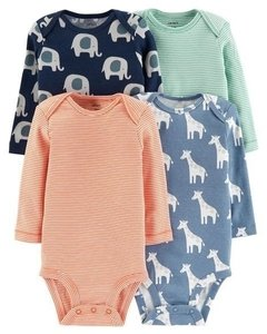 Kit Bodies Carters Manga Longa Animal