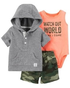 Conjunto Summer Carters 3 pecas Watch Out World - 127G909 - Tamanho 12 meses