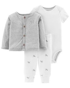 Kit 3 pecas Little Planet by Carters Sleep Wolf - 127H249- Tamanho 6 meses