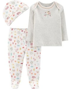 Kit 3 pecas Little Planet by Carters Sleep  Flores - 127H260 - Tamanho RN