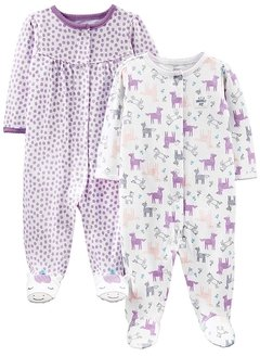 Kit 2 Macacoes Cotton Simple Joys By Carters - Unicornio - SJ715A - Tamanho 0 -3 meses