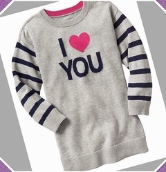 Tunica Sweater I LOVE YOU GAP - GAP1988 - Tamanho 18 - 24 meses