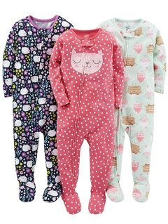 Kit 3 Macacoes Cotton Simple Joys By Carters - Diversos Girls- SJ45A - Tamanho 4 anos