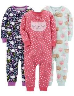 Kit 3 Macacoes Cotton Simple Joys By Carters - Diversos Girls - SJ13A - Tamanho 5 anos