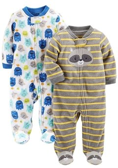 Kit 2 Macacões Fleece Simple Joys By Carters - Monster / Raccon - JA457 - Tamanho 0 - 3 meses