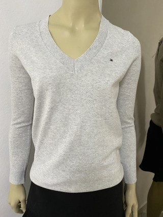 Sweater Tommy Hilfiger Cinza Liso - TH7162 - Tamanho PP