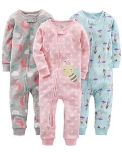 Kit 3 Macacões Cotton Simple Joys By Carters - Diversos Girls - SJ13A - Tamanho 2 anos