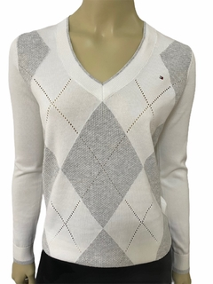 Sweater Tommy Hilfiger Branco / Cinza - TH7250  - Tamanho PP