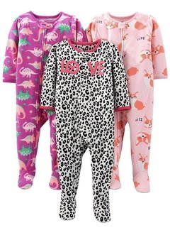 Kit 3 Macacoes Fleece Simple Joys By Carters - Diversos Girls- SJ39A - Tamanho 3 anos