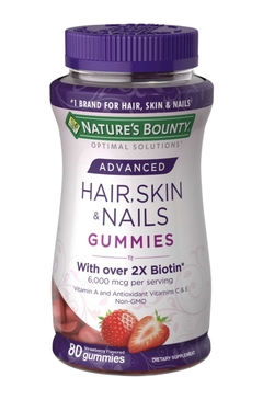 Suplemento Para Cabelos - Hair, Skin And Nails - 80 Gummies Nature's Bount Advanced