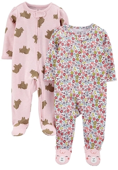 Kit 2 Macacões Cotton Simple Joys By Carters - Pink Bears/ Floral - SJ9812- Tamanho 0 - 3 meses