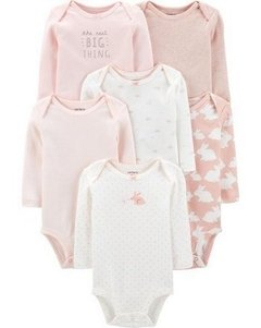 Kit 6 Bodies Carters Manga Longa