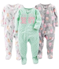 Kit 3 Macacoes Fleece Simple Joys By Carters - Diversos Girls- SJ67A - Tamanho 4 anos
