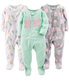 Kit 3 Macacoes Fleece Simple Joys By Carters - Diversos Girls- SJ67A - Tamanho 18 meses