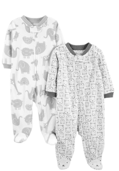 Kit 2 Macacoes Fleece Simple Joys By Carters - Bear - SJ645A - Tamanho 0 - 3 meses