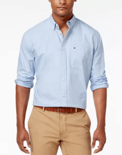 Camisa Social Tommy Hilfiger  Azul Classic Fit  - TH751 - Tamanho G