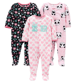 Kit 3 Macacoes Fleece Simple Joys By Carters - Diversos Girls- SJ85A - Tamanho 18 meses