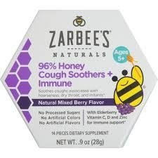 Pastilhas Zarbee's Naturals 96% Honey Cough Soother + Immune Support Lozenges - 14 pastilhas