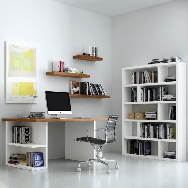Combo set oficina escritorio biblioteca estantes for Escritorios para oficina en casa